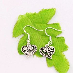 Meias flores brincos de coração 925 Silver Fish Gancho 5pairs / lot Tibetan Silver Chandelier 13. 2x31. 5mm free shipping