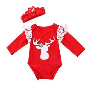 Emmababy Рождество Новорожденных Девочки с длинным рукавом Deer печать Прекрасного Xmas кружева Симпатичный Bodysuit