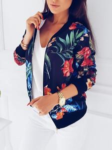 Женщины Цветочные печати весна осень куртка на молнии с длинным рукавом Основные Короткие Байкер куртки цветочным узором Женщины Плюс Размер S-5XL