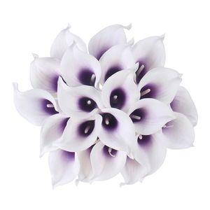 21 unids / lote Natural Real Touch Flower Bouquet Calla Lily decoración de la boda Fake Flower for Home Party Festival Decor 19 colores