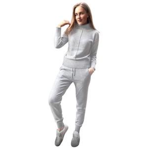 gevşek tarzı iki parçalı set örme TAOVK kış Yün ve kaşmir Örme sıcak Suit yüksek Yaka Triko + Vizon Kaşmir Pantolon