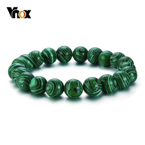 Vnox Vintage Beaded Chain Bracelets for Women Men Natural Stones Stretch Rope Chain Casual Male Jewels