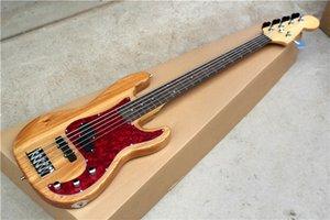 공장 주문 자연 목제 5 끈 일렉트릭베이스 기타와 빨간 진주 Pickguard, 크롬 Hardwares, 제안은 주문을 받아서 만들었다
