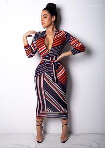 Kleider Stehen Zipper Kragen dünne beiläufige Kleider der Damen reizvolle dünne weibliche Printed Kleider mit Schärpen Frauen Striped Bodycon