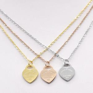 adam için Paslanmaz çelik kalp şekilli kolye T kolye kısa kadın takı 18k altın titanyum şeftali kalp kolye kolye