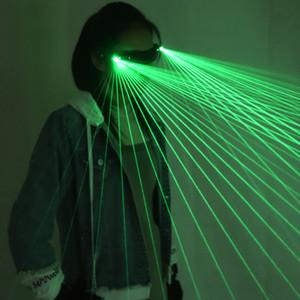2 em 1 Multi-linha verde da dança de LED Laser Óculos Luz Stage Show Club Party DJ Óculos multi LED vigas para Costumes luminosas