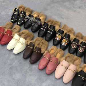 woman with authentic soft cowhide Warm Designer Wool slippers Classic male Flat bottom Metal buckle Hair Slippers Embroidered Half slippers