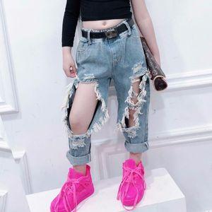 Summer girls jeans baby denim pants kids bottoms children trousers streetwear fashion Big hole ripped tassel 2 to 9 yrs Y200704