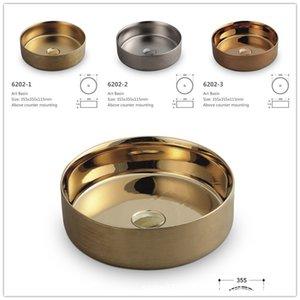 Retro Acima Contador Bacia Início Rodada Ceramic Art bacia de lavagem de luxo de Ouro pequeno lavatório Commercial Sink Bacias Set