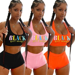 Summer Women Shorts Tracksuit Black Letter Sleeveless T-shirt Vest + Shorts 2 Piece Outfits Trend Sportswear Girls Suit Clothes Streetwear
