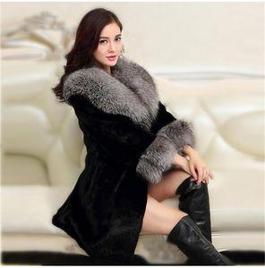 Дизайнер женщин искусственного меха Пальто Мода Поддельный Fox Fur Теплая зимняя куртка Сладкие Стили Повседневная одежда