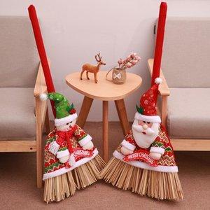 DIY Weihnachtsdekoration Festival Besen Set Weihnachtsmann Schneemann-Puppe Besen Abdeckung für 2020 Weihnachten Startseite Neujahr Dekoration Supplies