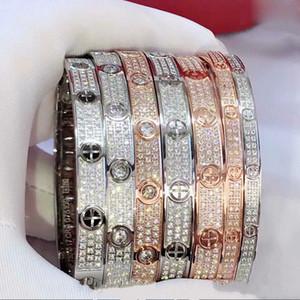 Titanio bracciale in acciaio gioielli braccialetto paio di nozze di lusso su disegno 18K Rose Gold cristallo Amore Stud Serie Uomo stellata all'ingrosso