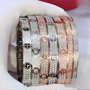 Luxury Top Design 18K Rose Gold Crystal Love Stud Series Starry Men's Bracelet Titanium Steel Couple Bracelet Wedding Jewelry Wholesale