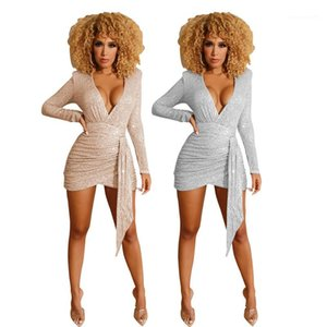 Partido atractivo de las mujeres Desginer Ropa para mujer de las lentejuelas vestidos de cuello en V profundo columna de verano vestidos de color sólido Bodycon