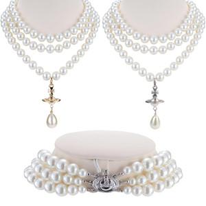 Collar Gargantilla del planeta 3layers Cruz de Plata de oro, perlas de perlas imitado gota del agua de collar de la mujer de la muchacha