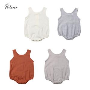 2020 бренд Лето новорожденный Девочка Мальчик одежда лето Новый хлопок без рукавов твердые боди полосатый наряд Sunsuit 0-18 м