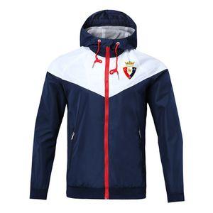 Top Football Veste coupe-vent osasuna 2020 soccer mode manteau à capuchon Vestes de sport Formation Football Coupe-vent Vestes d'homme