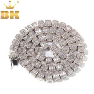 Bling Cadenas Cuadrado blanco REY Bling Cubic Zirconia Collar Baguette Clúster de Hiphop collares de la manera mujeres de los hombres de joyería