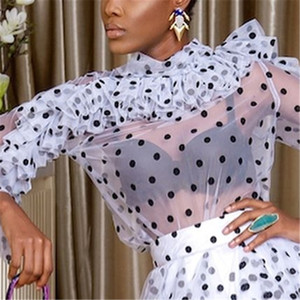 Mulheres Blusas Tops Polka Dot Ruffles Fina Tulle transparentes Shirts Ver Através Senhora elegante Moda Primavera Verão Classy Feminino