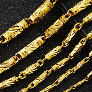 2019 Hexagonal column necklace Vietnam Shakin Men's necklace plating 24K gold Bamboo necklace