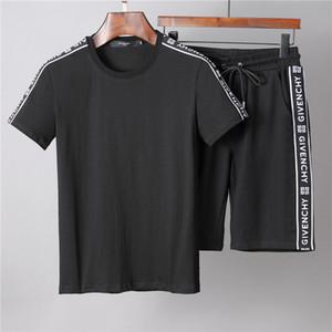 Diseñador de lujo para hombre Conjunto de manga corta Medusa Moda Conjunto de ropa deportiva Chaqueta Camiseta informal Negro Conjunto de sudadera de marca blanca