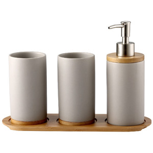 3PCS Ceramic Bathroom Accessories Set Fashion Soap Dispenser Toothbrush Holder Tumbler Ceramic Household Bathroom Product