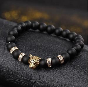 Strand pietra perle nere Uomini Bracciale naturali Bracciali Leopard Lion Head Etnica catena a mano a mano fascino per gli uomini Nizza regalo prezzo all'ingrosso