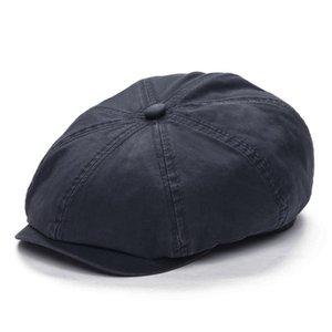 VOBOOM Gray Cotton Newsboy Cap Men Flat Ivy Cap 8 Panel Beret Caps Retro Vintage Boina Cabbie Driver Hat 145