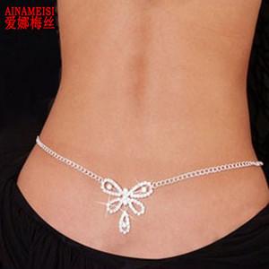 AINAMEISI Hot sale Sexy Crystal Body Chain Women Silver Rhinestone Butterfly Belly Waist Chain Charm Bikini Party Body Jewelry