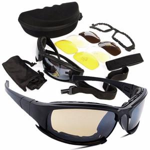 Großhandel Military Brille kugelsichere Armee polarisierte Sonnenbrille 4 Objektiv Jagd Schießen Airsoft Radfahren Motorrad Brille