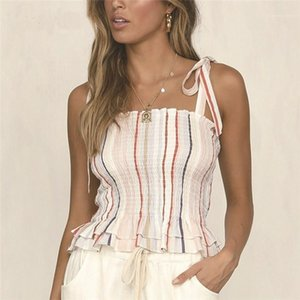 Bow Sashes Camis Women Designer Striped Print Camis Sexy Slash Neck Crop Top Fashion Contrast Color