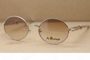 diritta di acciaio inossidabile caldo 7550178 Occhiali da sole rotonda d'argento di vetro del metallo di marca del progettista Occhiali Frame Size: 57-22-140mm