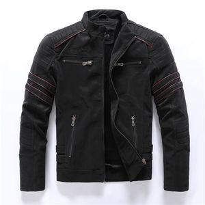 Осень зима мужская кожаная куртка повседневная мода стенд воротник мотоцикл куртка мужчины стройные искусственные кожаные пальто