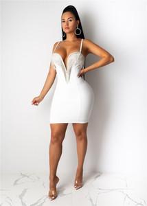 Schlank Solid Color Kleider Womens Designer Bodycon Kleider Sexy V-Ausschnitt Ärmel Tassel-Spaghetti-Bügel-Kleid-beiläufige
