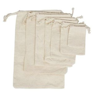Cotton Produce Bags Large Reusable Canvas Muslin Storage Organizing Drawstring Fabric Sack For Laundry Grocery Drawstring Vegetables hj2009