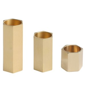 3Pcs Candle Holders Brass Gold Candlesticks Wedding Decoration Bar Party Home Decor Candlestick Candlelight Table Dinner Candle