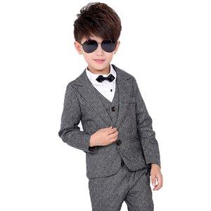 2020 Kids Jacket Vest Pants 3Pcs Clothing Set Flower Boy Wedding Formal chorus Dance Show Blazer Suit Children Tuxedo Costume
