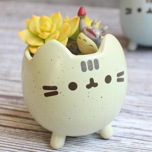 Succulent Plant Pot avec Trou Mignon Animal Flower Planteur Flowerpot Lovely Little Cat jardin Décor Bonsai Pots cadeau d'anniversaire