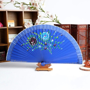 Handmade peacock Embroidery Fabric folding fan silk top grade bridal fans Bridesmaid fans hollow plastic handle wedding accessories Fold fan