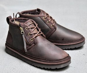 2020 Arco-nudo WGG mensuggs clásico de altura media Botas arco botas de los hombres de la muchacha de arranque de nieve de invierno negro azul de tobillo zapatos de cuero # 05907a #