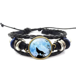 Hot!5pcs Fashion Black Leather Bracelet Wolf Head Glass Metal Buckle Punk Jewelry Weave Multilayer Bracelet Charm Women Men