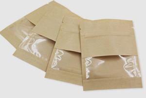 Il cibo umidità odore prova Borse barriere architettoniche, con finestra trasparente bianco Brown Kraft Paper tenuta Doypack Pouch Packaging resealble per l'erba asciutta