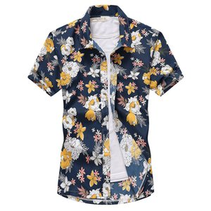 3D цифровой печати Mens Casual рубашки Мода лето с коротким рукавом Цветочные печати Мужские рубашки Пляж Casual Мужчины Одежда