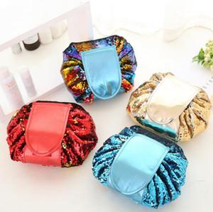 4styles 장식 조각 화장품 가방 인어 스팽글 메이크업 가방 졸라 매는 끈 여행 화장품 가방 여성 PU 가죽 클러치 스토리지 가방의 GGA3199