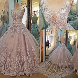 Real Images Jewel Neck Applizierte Lace 3D Floral Quinceanera Kleider 2019 Lace up Backless Plus Size Sweet 16 Abendkleider BC2149