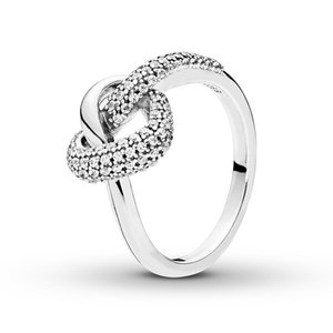 Real 925 Sterling Silver Knotted Heart Ring with Logo and Pandora Original Gift Box Luxury Designer Jewelry Women CZ Diamond Engagement Ring