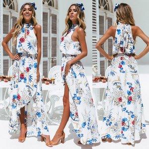 Maxi Party Dress Femmes Halter Cou Sexy Cross Back Wrap Haute Fente D'été Robes D'été Élégant Club Longue Camis Beach Holiday Dress Y190425