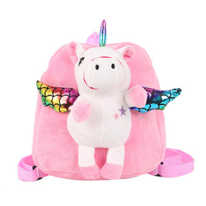 Unicorn mochila bebê Unicorns sacos de armazenamento Plush Pure Color linda boneca Bolsa Escola para crianças ambos os ombros Mochilas