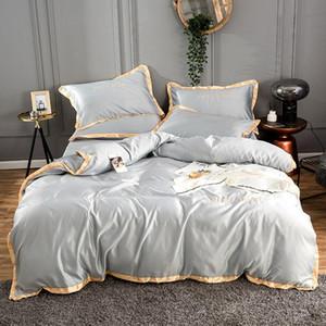 2020 Home Textile Golden Rim couverture lit broderie ensemble literie de satin de soie ensemble couette drap plat ou lit Drap reine roi